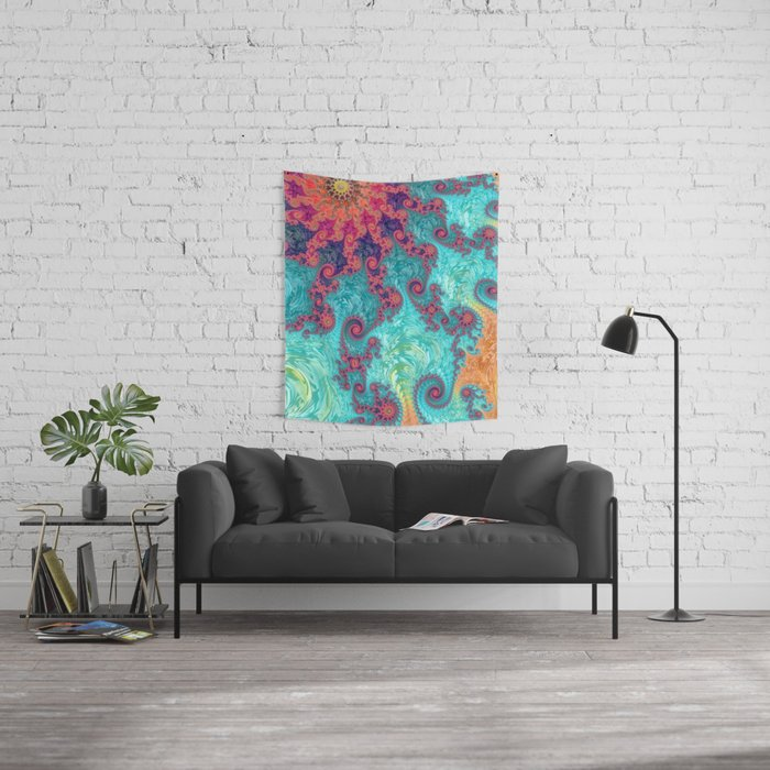 Rainbow Fractal Wall Tapestry