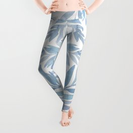 Muted Blue Palm Leaves Leggings