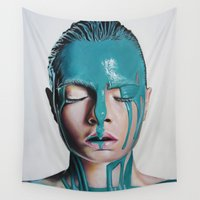 cara Wall Tapestries featuring Paint on Cara by Stella Joy