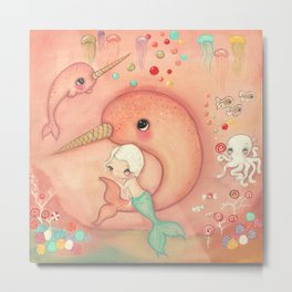 Candy Narwhal Metal Print