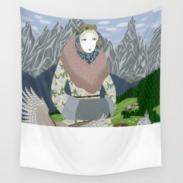 Lady with an owl and a dog Wall Tapestry