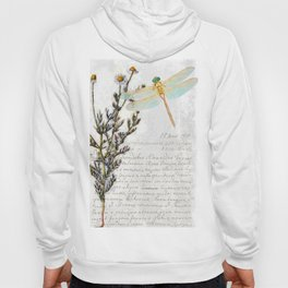 Chamomile Herb, Dragonfly Bumble Bee Botanical painting, Cottage style Hoody