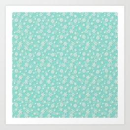 Seafoam Blue Green Christmas Snowflakes Art Print