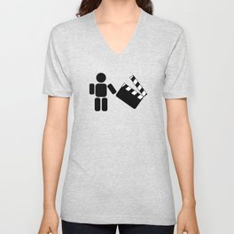 Pictogram holding a movie clapperboard Unisex V-Neck