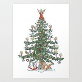 Xmas Tree Angel on Top Art Print