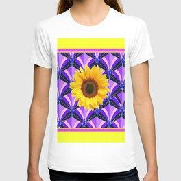 Purple Geometric Sunflower Patterns on Yellow T-shirt