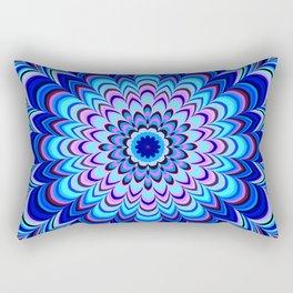 Neon blue striped mandala Rectangular Pillow