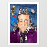 robin williams Art Prints featuring Robin Williams  by Aviva Bubis Art and Stuff
