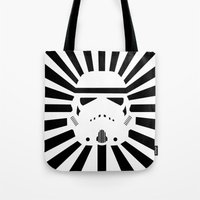 storm trooper Tote Bags featuring Storm Trooper by RobotSpaceBrain