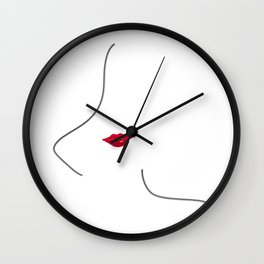 Minimal line art woman figure in black and white wearing red lips Wall Clock