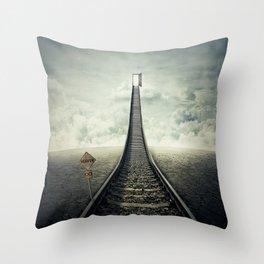 railroad to door Throw Pillow