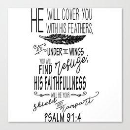 Psalm 91:4 Christian Bible Verse Typography Design Canvas Print