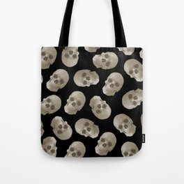 Halloween Skull pattern design black background Tote Bag