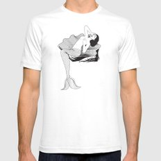 Mermaid on Shell Mens Fitted Tee SMALL White
