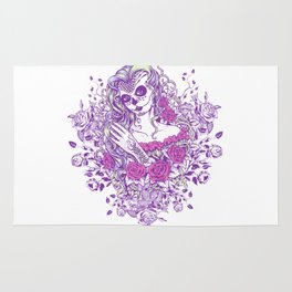 Sexy Woman zombie WITH Flower -  Carla - Vivid Violet - Lavender Rug