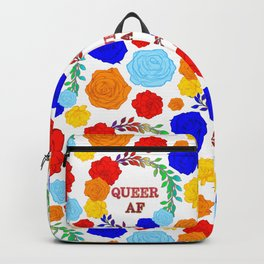 QUEER AF - A Rainbow Floral Pattern Backpack