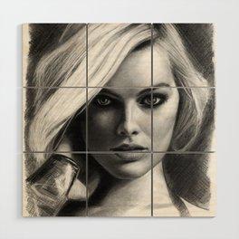 Margot Robbie Pencil Sketch Wood Wall Art