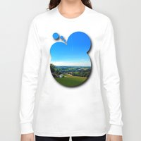 airplanes Long Sleeve T-shirts featuring Condensation trail with some scenery by Patrick Jobst