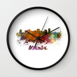 Manila skyline in watercolor Wall Clock