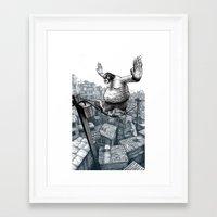 furry Framed Art Prints featuring Furry Fingers by Jason Tirendi