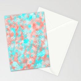 Artsy Modern Summer Coral Orange Aqua Abstract Stationery Cards