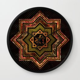 Red Gemstone and gold  Star of Lakshmi -  and Sri Wall Clock
