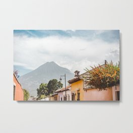 Colorful houses of a street in Antigua Guatemala with volcano views Metal Print