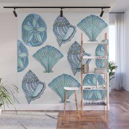 Watercolor Blue Seashells  Wall Mural