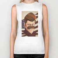 ron swanson Biker Tanks featuring Ron Swanson by nachodraws