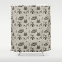 Eurasian Wolf Toile Pattern (Beige and Brown) Shower Curtain