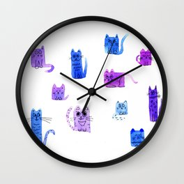 Crowd of Cats Wall Clock