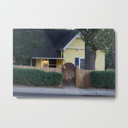 Yellow House with Moon Gate Metal Print