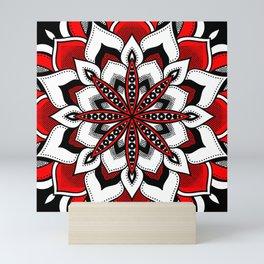 Mandala : Red Flower Mandala Mini Art Print
