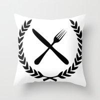 eat Throw Pillows featuring Eat by Noah Zark