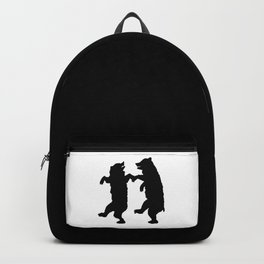 Two Dancing Bears Trees Owl Black Silhouette on White Backpack