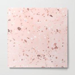Rose Gold Blush Terrazzo Metal Print