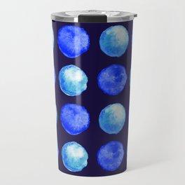 Winter Blue Watercolor Large Dots Pattern Travel Mug