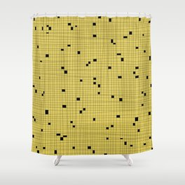 Yellow and Black Grid - Missing Pieces Shower Curtain