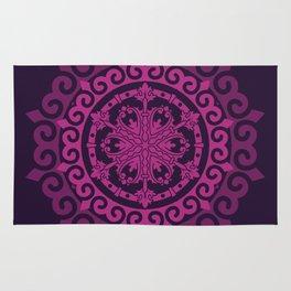 Pink Mandala on Dark Purple Rug