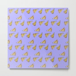 Yummy Pizza and Pepperoni Foodie Watercolor Pattern Metal Print