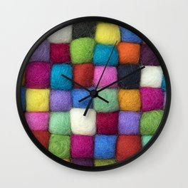 Colorful textile texture, handmade background Wall Clock