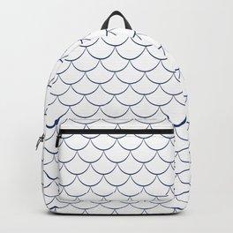 Modern navy blue white scallope pattern Backpack