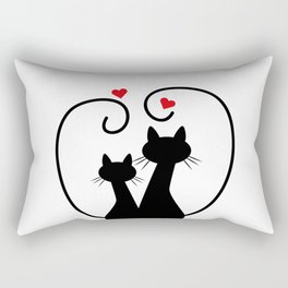 Silhuette Two Cats n' Hearts Rectangular Pillow