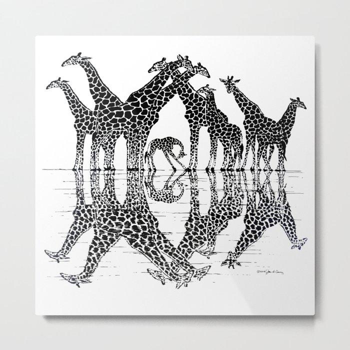 GIRAFFE RELFECTIONS Metal Print