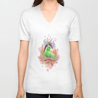 donkey V-neck T-shirts featuring Green donkey by sophie gerl