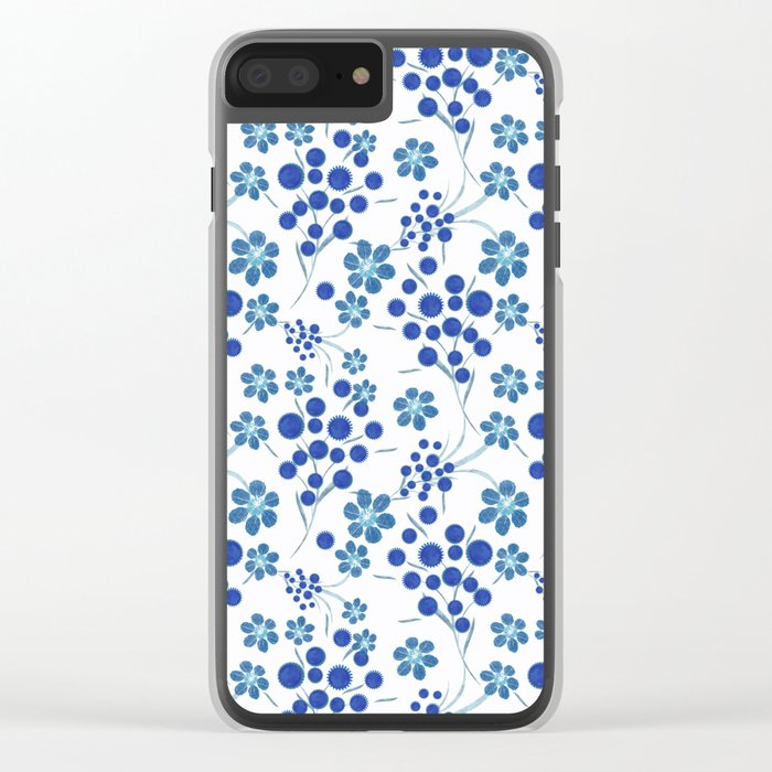 Blue flowers on a white background. Clear iPhone Case