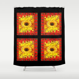 DECORATIVE TEAL-RED & YELLOW SUNFLOWER  BLACK DECO Shower Curtain