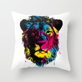 COLORED LION Throw Pillow