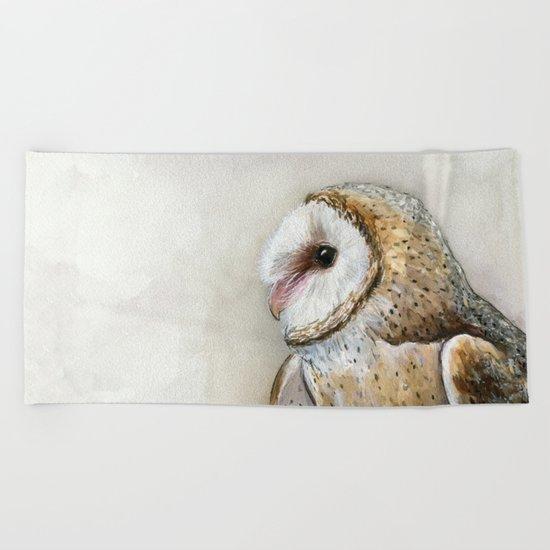 Barn Owl Watercolor | Birds Of Prey Wild Animals Owls Beach Towel