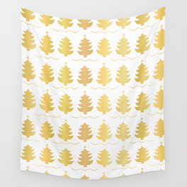 Luxe Gold Christmas Trees Pattern, Seamless Vector Background, Drawn Wall Tapestry